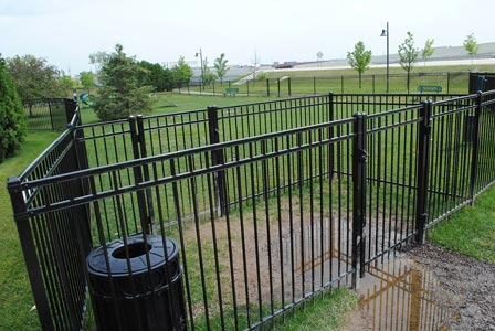 Dog park double gate entryway.