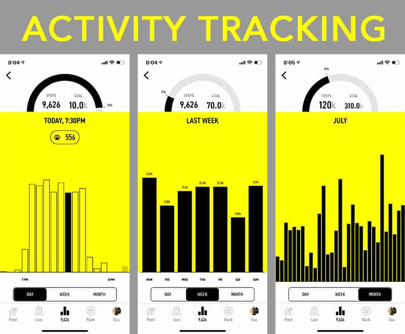 Fi mobile app screenshots of activity tracking by day, week, and month.